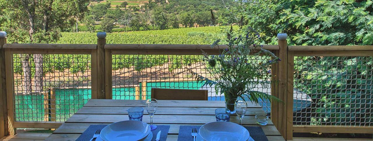 camping La Rouillère location de mobilhome vue terrasse