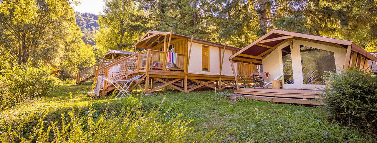 Cabane toile bois Camping Le Pont du Tarn